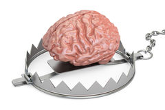 Brain in bear trap, 3D rendering. On white background Royalty Free Stock Image