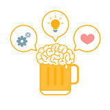 Brain Beer Ideas Royalty Free Stock Photography