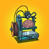 Brain biotechnology medicine printing human organs 3D printer. Brain biotechnology and medicine printing of human organs 3D printer manufacturing. Comic book Royalty Free Stock Photo