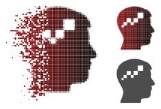 Brain Blockchain Icon tramé pointillé détruit illustration libre de droits