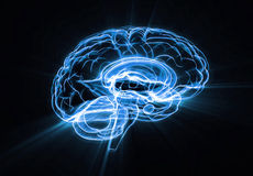 Brain blue. Blue brain with light streaks isolated on black background Stock Photos