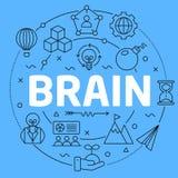 Brain Blue Lines Illustration para la presentación Fotografía de archivo