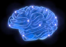 Brain from blue neon lines on black background Stock Photo