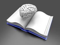 Brain Book. Psychologic / Psychiatric / Neurologic literature. 3d rendered Illustration Stock Photography
