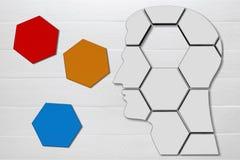 Brain. Migraine stroke puzzle feelings concept head stock photos