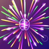 Brain with bright firework Stock Images