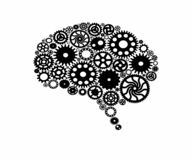 Brain build out of cogs Innovation with ideas and concepts stock illustration