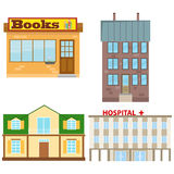Brain. Buildings, set of buildings. Flat design, illustration vector illustration
