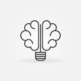 Brain bulb icon. Vector idea or brainstorm concept icon or logo element in thin line style stock illustration