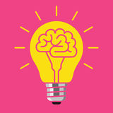 Brain bulb, Idea concept. Light bulb with a brain inside, creating ideas, creative concept, vector illustration on pink background Stock Images