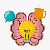 Brain bulb idea cup coffee Royalty Free Stock Image