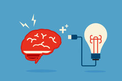 Brain and bulb idea Stock Image