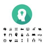 Brain and bulb light creative idea set Royalty Free Stock Image