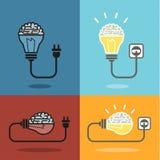 Brain and bulb light Stock Photo