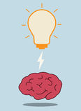 Brain and bulb light Stock Photos