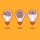Brain and bulb light Royalty Free Stock Photography