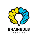 Brain bulb logotype Stock Photo