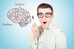 Brain businessman with creative idea illustration Royalty Free Stock Images