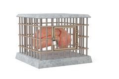 The brain in cage.3D illustration. The brain in cage. 3D illustration Stock Photo