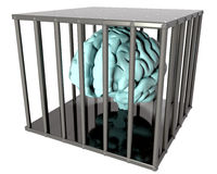Brain in a cage. Prisoner of conscience - mind in a cage vector illustration