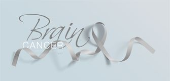 Brain Cancer Awareness Calligraphy Poster design Realistiska Grey Ribbon Maj är cancermedvetenhetmånaden vektor vektor illustrationer