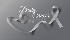 Brain Cancer Awareness Calligraphy Poster design Realistiska Grey Ribbon Maj ?r cancermedvetenhetm?naden vektor vektor illustrationer