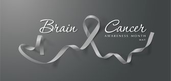 Brain Cancer Awareness Calligraphy Poster design Realistiska Grey Ribbon Maj ?r cancermedvetenhetm?naden vektor vektor illustrationer