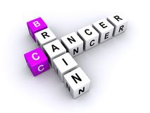 Brain cancer concept. 3d illustration of letter blocks in crossword puzzle shape spelling brain cancer, white background Royalty Free Stock Image