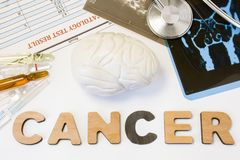 Brain cancer concept. Anatomical shape of brain lies near word cancer surrounded by set of tests, analysis, drugs, MRI of skull an. D stethoscope. Diagnosis stock image
