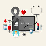 Brain cancer treatment chemotherapy medicine medical diagnosis. Vector Stock Photography