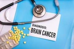 Brain cancer words written on medical blue folder Stock Photo