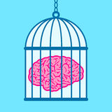 Brain captured in birdcage Royalty Free Stock Photo