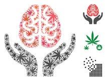 Brain Care Hands Mosaic van Cannabis stock illustratie