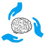 Brain Care Hands Raster Icon royalty-vrije illustratie