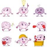 Brain cartoon action set Royalty Free Stock Photography