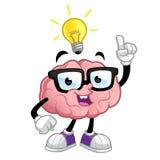 Brain. Cartoon character, he has an idea stock illustration