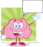 Brain Cartoon Character Waving For hälsning med S royaltyfri illustrationer