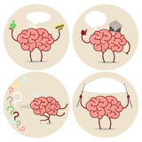 Brain Cartoon different actions. Choice, scientist, running, ban Royalty Free Stock Photo