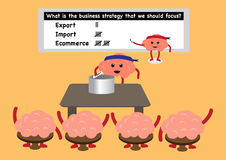 Brain cartoon drawing business strategy Royalty Free Stock Image