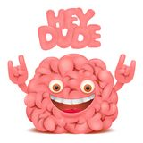Brain cartoon emoticon character with hey dude title Royalty Free Stock Photo