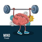 Mind and brain power concept. Brain cartoon lifting weights vector illustration graphic design royalty free illustration