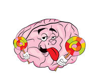 Brain cartoon with lollipop Stock Photos