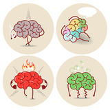 Brain cartoon, various kinds of bad habits. Anger, addict, poiso Royalty Free Stock Photos