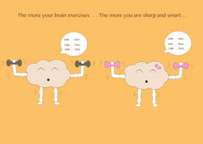 Brain cartoons exercise Stock Images