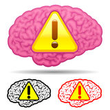 Brain with caution sign collection Royalty Free Stock Images