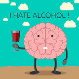 Brain character and wine Royalty Free Stock Photography