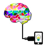 Brain charge. With smartphone or tablet  on white screen, this is isolate Royalty Free Stock Photo