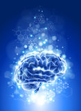 Brain, chemical formulas &  lights Royalty Free Stock Photos