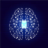 Brain with circuit board texture. stock illustration