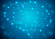 Brain with circuit board texture. Royalty Free Stock Photo